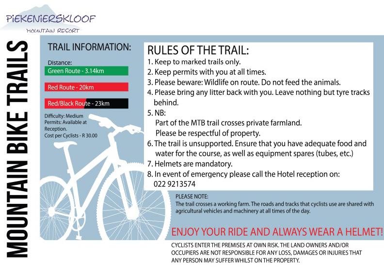 Piekenierskloof - Mountain bike rules